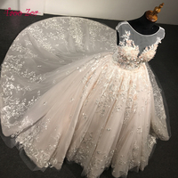 TaooZor Luxury Lace Ball Gown Wedding Dresses 2018 Princess Arabic 3 D Flowers Bridal Dress Open Back Wedding Dress Plus Size