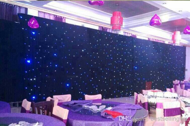 60 square meters blue white color led star curtain wedding stage
