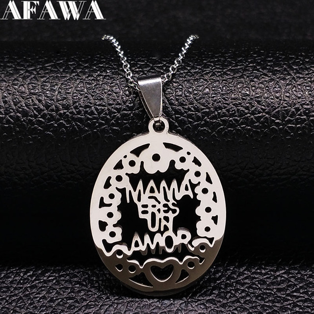 2018 Fashion MAMA Stainless Steel Statement Necklace Women Mum Silver Color Neck