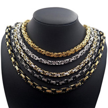 NEW 4mm 5mm 6mm 8mm Men Chain 316 Stainless Steel Byzantine Box Link Necklace Hip-hop Jewelry Fashion Gift 22 24