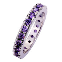 lingmei Wholesale Dazzling Round Purple Amethyst AAA Silver Ring Size 6 7  8 9 10 11 12 13 Romantic Style Women Jewelry Gift