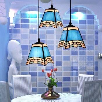 Avrupa tarzı Akdeniz tiffany kolye ışık Restoran salonu 3 kafa renk vitray dekoratif cam asılı ışık