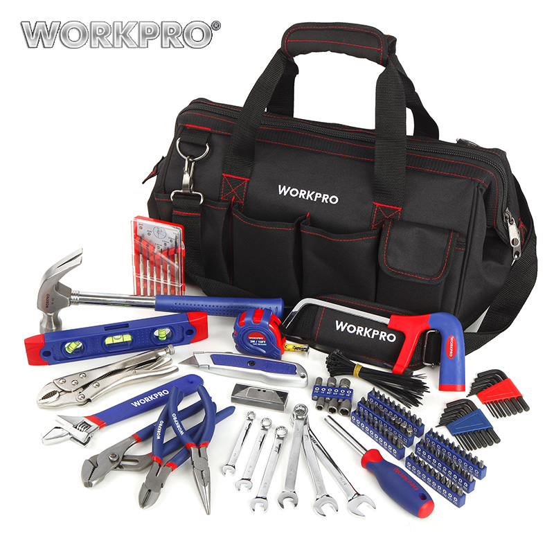 WORKPRO 156PC Home Tool Set Plumbing Plier Needle Nose Pliers Dual wrench Set Hammer Saw Screwdriver Bits Set Hex Key Tape Level 20pcs m3 m12 screw thread metric plugs taps tap wrench die wrench set