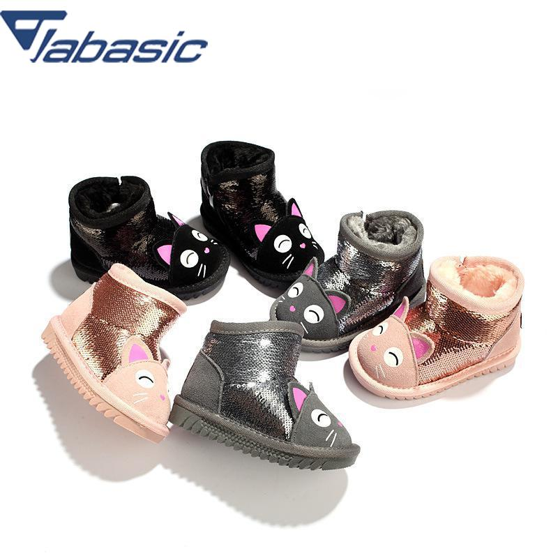 JABASIC zapatos de invierno de cuero genuino para niños talla 21 30 botas de nieve para niñas y bebés Kawaii gato purpurina tobillo Bota niños