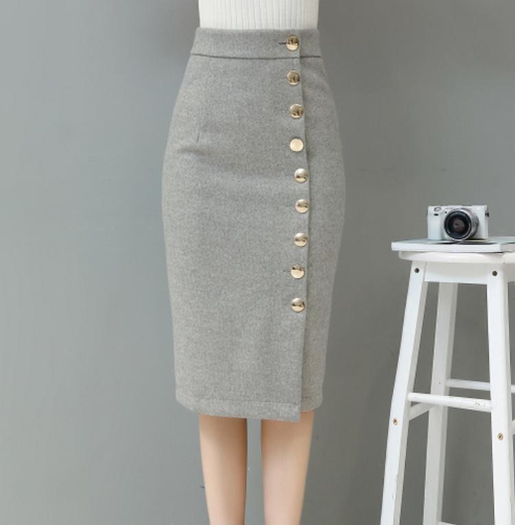EXOTAO Autumn Winter Midi Skirt Single-Breasted High Waist Warm Saia Feminina Solid Pencil Skirt Office Ladies Fashion Faldas 4
