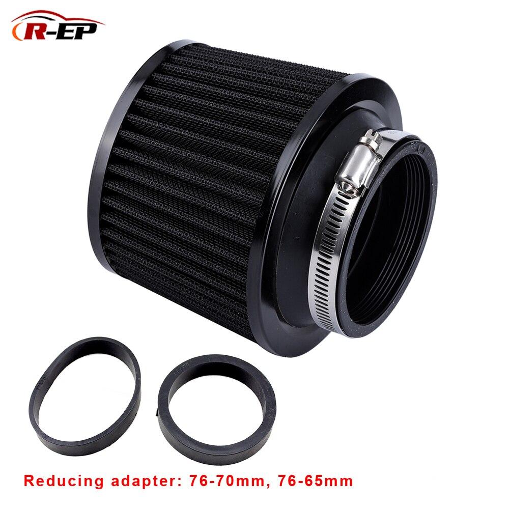 R-EP Universal Air filter 76MM 70mm 65mm Auto Leistung High Flow Luftfilter für Cold Air Intake 3 zoll 2,75 zoll 2,5 zoll Schwarz