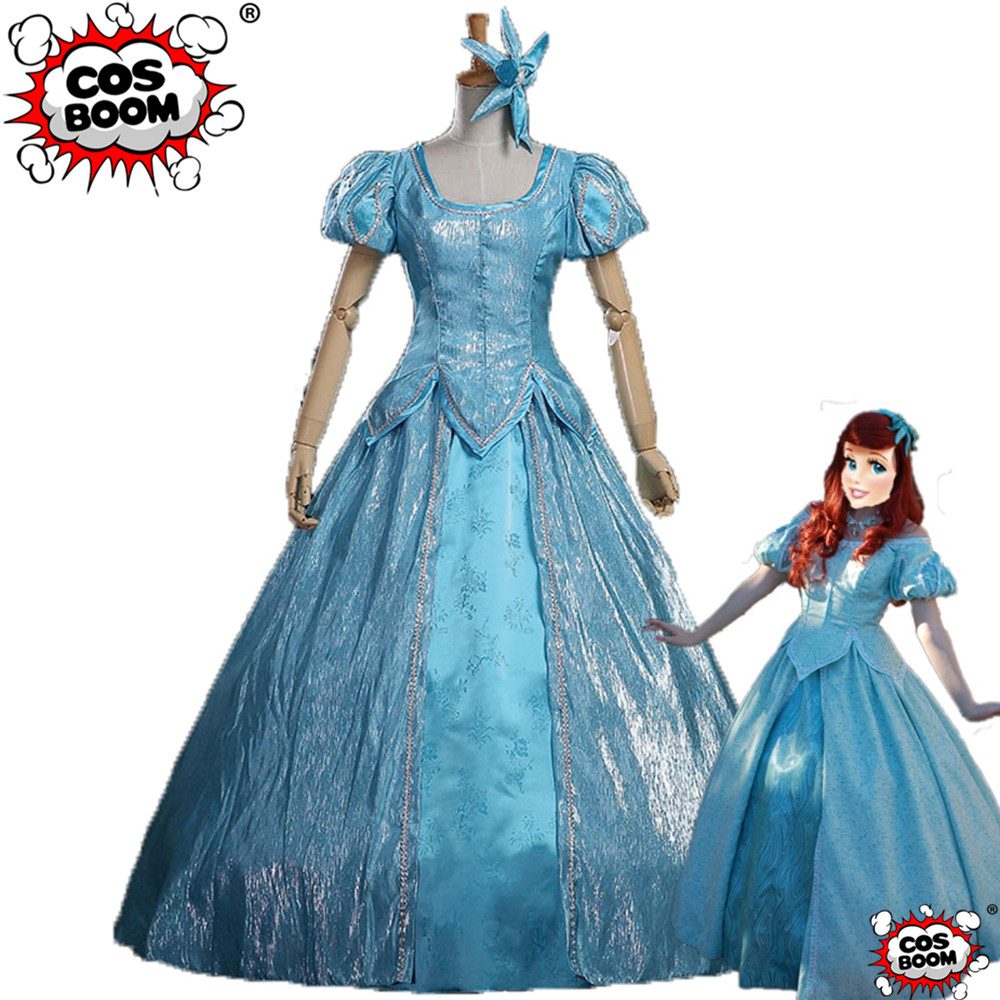 COSBOOM The Little Mermaid Ariel Princess Dress Cosplay Costume Adult Women Halloween Carnival Party Dress