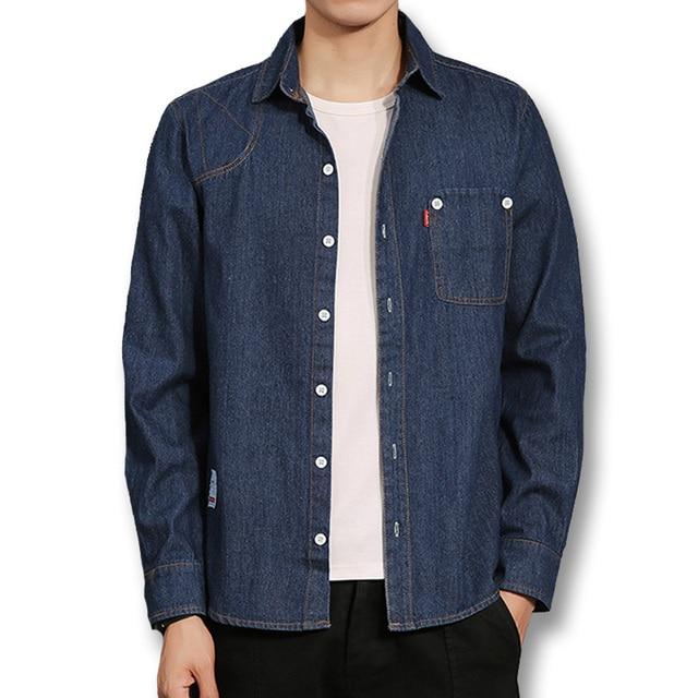c895e43032 2018 hombres Denim Camisas Jeans Camisa Masculina hombres Casual moda Slim  Fit grande tamaño de manga