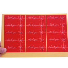 150pcs/Lot Red Bow Rectangle Thank You design Kraft seal sticker DIY multifunction package Valentine's Day gift  Labels