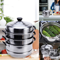 New Stainless Steel Steamer Induction Dim Sum Steam Steaming Pot Cookware For Home Kitchen Cooking Tools