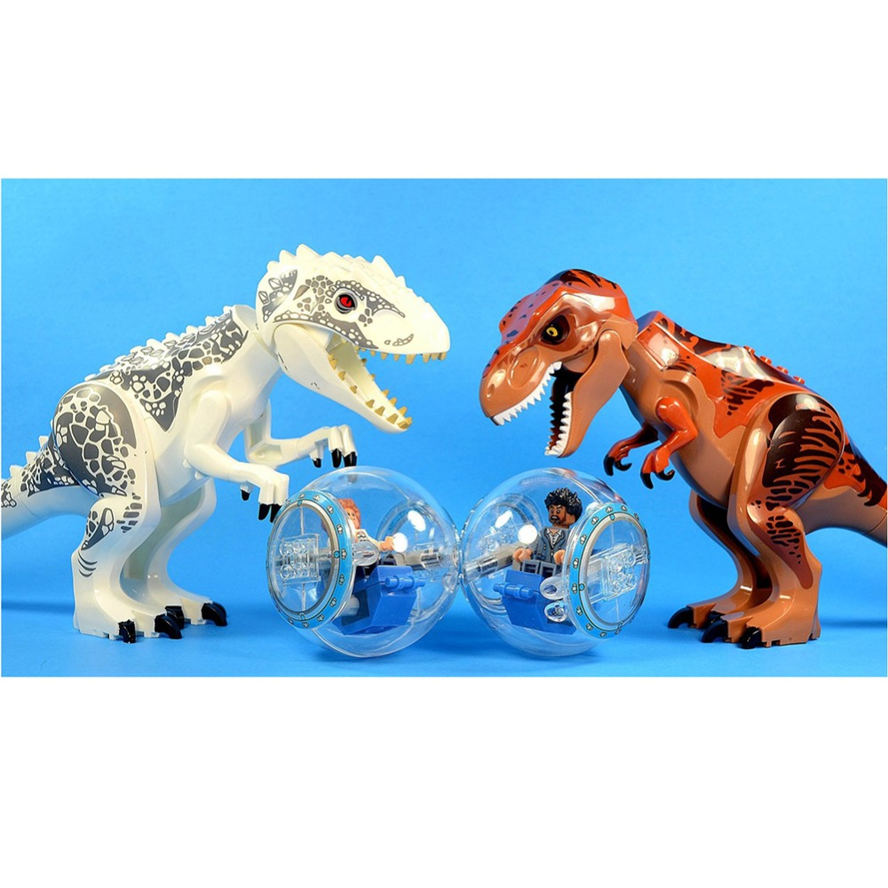 2 Pcs/set XL Jurassic Dinosaurs Indominus Rex and T-Rex + Gyrospheres 2 pcs set xl jurassic dinosaurs indominus rex and t rex gyrospheres