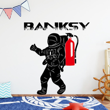 Personalized fire man Banksy Wall Stickers Modern Fashion Sticker Pvc Decals Background Art Decal