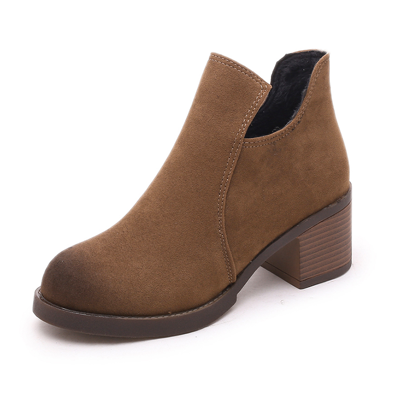 Spring And Autumn Boots Female 2017 New Shoes With Thick Martin Fashion Boot Heels Nubuck Leather The Wind the new spring and summer ms south korea ensure their boots comfortable show female water thin antiskid tall canister shoe