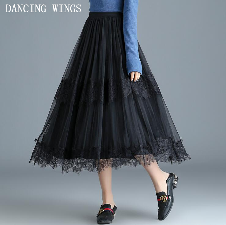 Spring Summer Womens Pleated Skirts Lace Patchwork Mesh Elastic Waist Long Skirt Black high quality faldas mujer