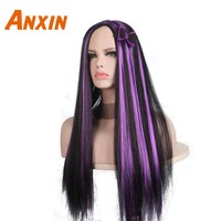 Anxin Long Straight Black Purple Witch Vampire Halloween Carnival Wigs For Girls Women Party Anime Cosplay Funny Synthetic Wig