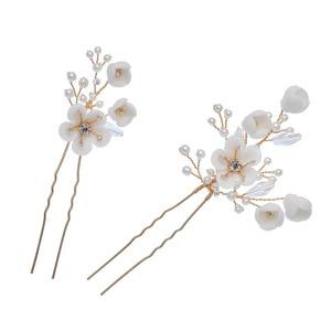 Image 4 - Jonnafe Delicate Wedding Hair Jewelry Porcelain Flower Bridal Hair Comb Pins Handmade Women Prom Headpiece