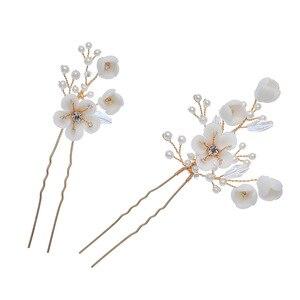Image 4 - Jonnafe עדין חתונת שיער תכשיטי פורצלן פרח כלה שיער מסרק סיכות בעבודת יד נשים לנשף כיסוי ראש