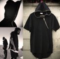 men streetboys Fashion gothic zipper lengthen hiphop hoody male short sleeve T shirt tee tops plus size european style dark zip