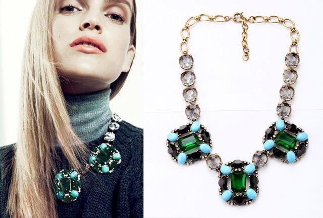 Moda Simulado Collar de Piedras Preciosas Collares 2014 de Lujo de Cristal Verde Rhinestone Colgante Collar de la Declaración para Las Mujeres Bijoux