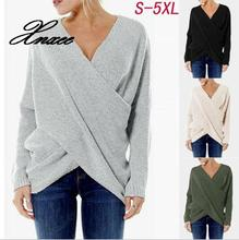2019 new womens fashion bevel irregular hem sweater pullover S-5XL