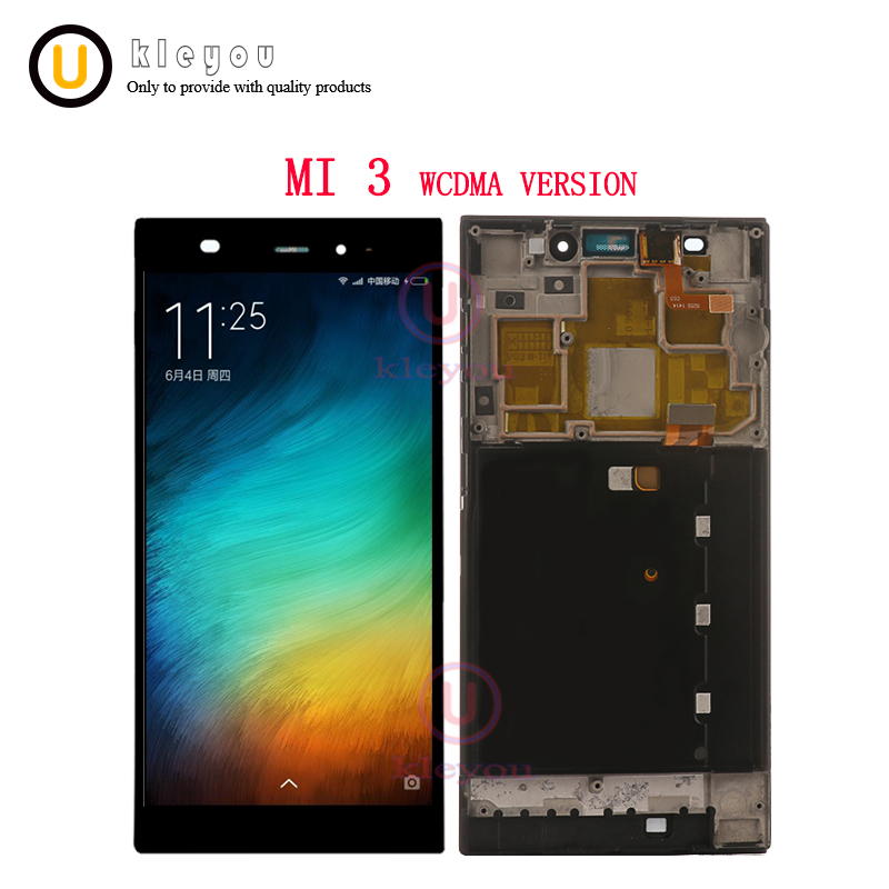 For Xiaomi Mi3 LCD Display + Touch Screen With Frame Replacement For Xiaomi m3 m 3 mi WCDMA Mobile Phone