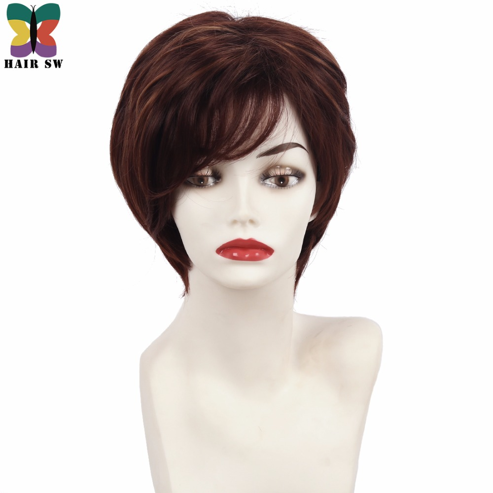 HAIR SW Classic Short Shag Synthetic Layered Wig Dark brown Auburn Highlights Fluffy Str ...