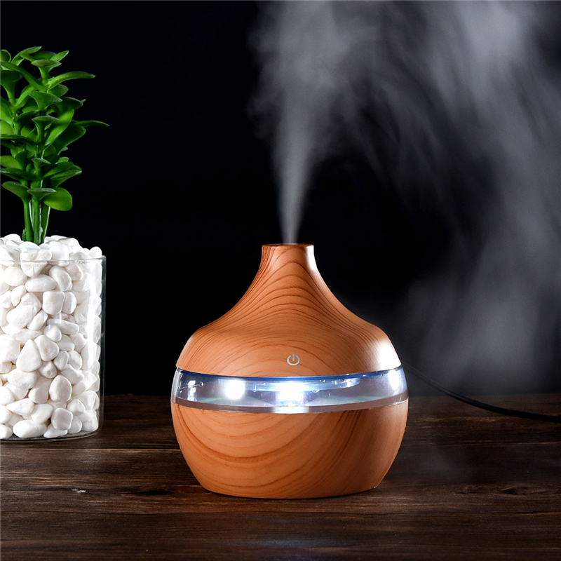 300ml USB Electric Ultrasonic Aromatherapy Air Humidifier Wood Grain 7 Color LED Lights Essential Oil Aroma Diffuser Office Home 300ml ultrasonic air humidifier aromatherapy diffuser with wood grain 7 color led lights for home office aroma diffuser