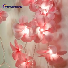 Pink cloth frangipani LED String Lights, AA Battery floral h