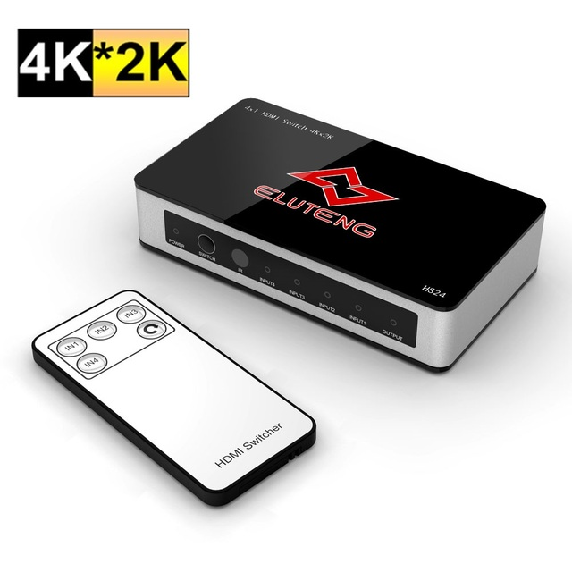 ELUTENG HDMI Splitter 4K 1x4 Selector Switch Box 2K 1080P HDMI 4 Port Powered Switcher 4 in 1 out  3D HDCP for HDTV PS3/4 TV Box