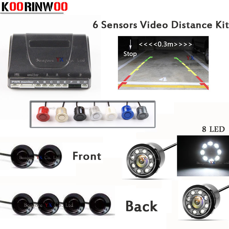Car parking Sensor 6 Video Reverse Radars Parktronic for Cars Parking System with car Rear view camera car front camera 8 LED