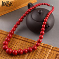 JINSE Fashion Jewelry Round Beads Red Turquoise Necklace 45CM Length BLS073