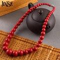 JINSE Joyería de Moda Collar de Turquesa Granos Redondos Rojos 45 CM Longitud BLS073