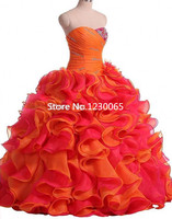 Vestidos de Debutante 2017 Sweet 15 Year Quinceanera Dress Cheap Ruffles Tiered Organza Prom Party Gown Ball Gown Dress For Prom