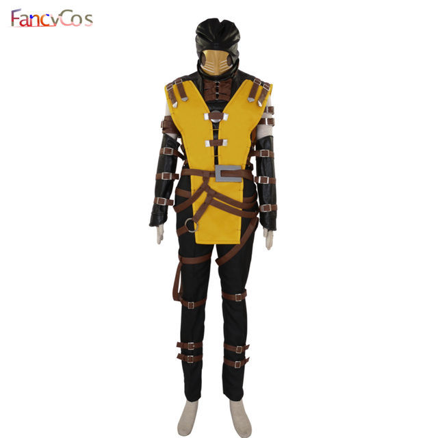 halloween mortal kombat scorpion hanzo hasashi mask cosplay costume game adult costume movie high quality deluxe