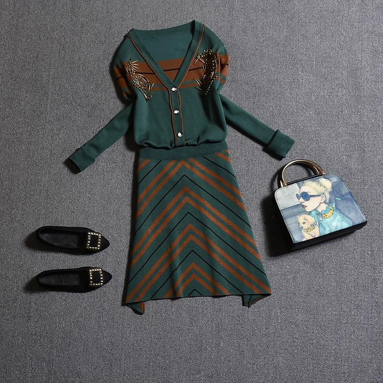 Amolapha Women Knit V Neck Cardigans Skirts 2PCS Set Long Sleeve Single Breasted Shirts Striped Skirt