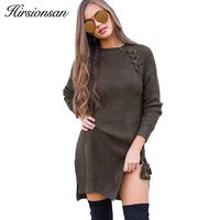 Hirsionsan Autumn Lace Up Sweater Dress Women 2017 Knitted Women Long Pullovers Sexy Split Long Sleeve