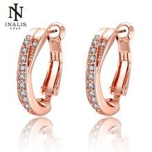 INALIS ювелирные изделия розовый маленький золотого цвета серьги-кольца для женщин Свадебные украшения подарок