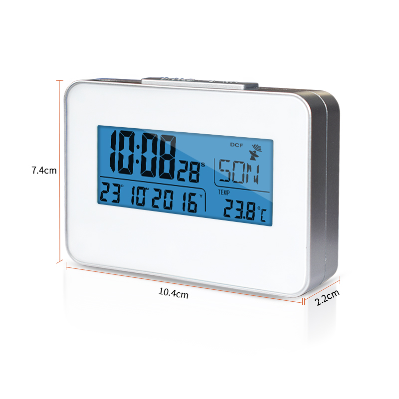 DYKIE New Arrival Global Radio Controlled Clock Blue Backlight Digital Indoor Thermometer Portable Rectangle Weather Station in Temperature Instruments from Tools