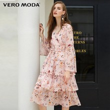 Vero Moda 2019 new V-neck flared sleeve print/floral dress | 31847D506(China)