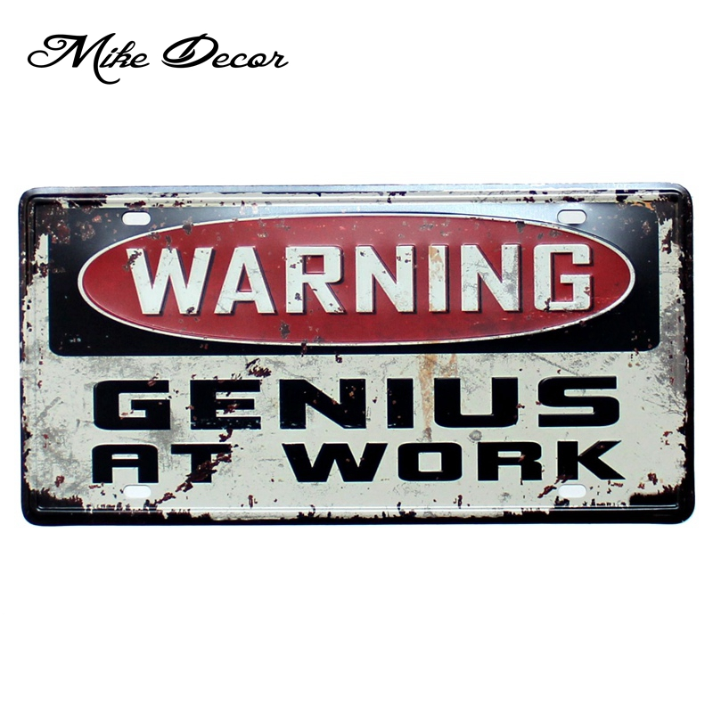 [Mike86] предупреждение geniusa на работе роспись паб Cafe Hotel декора для комнаты ремесла металлический знак D-491 смешивания заказ 30*15 см