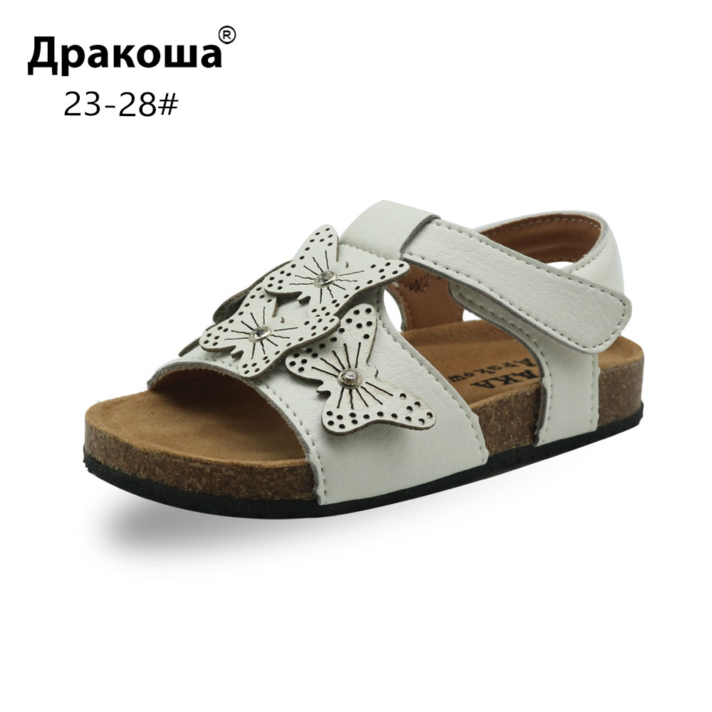 Apakowa Girl's Open Toe Cork Sandals Children Summer Soft Leather Beach Casual Shoes With Butterfly For Toddler EU 23-28 New