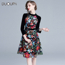 European Station High-end Womens Dresses 2019 New 9-Sleeve Velvet Spliced Embroidery A-shaped
