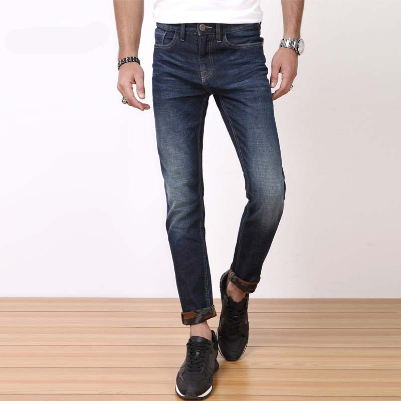 2017 New Spring Men Jeans With Stretch Jeans Big size 34 36 Whole Brand Business Jeans