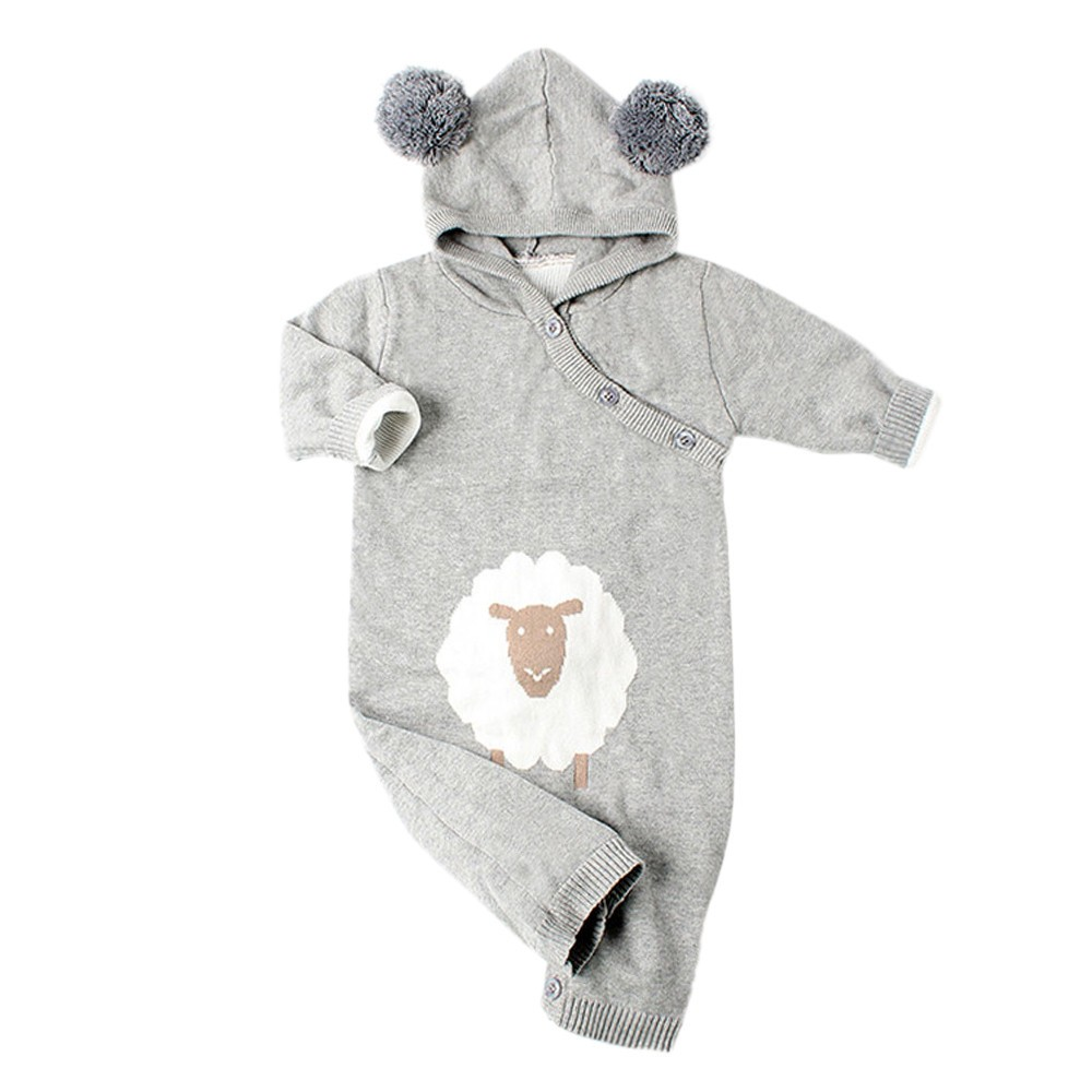 Newborn Baby Boys Girls Knitted Hooded Cartoon Jumpsuit Clothes Romper Outfit Long Sleeve Sheep Print Baby Rompers Cute Warm fashion 2pcs set newborn baby girls jumpsuit toddler girls flower pattern outfit clothes romper bodysuit pants