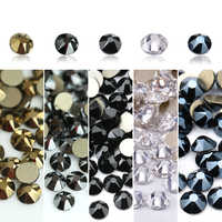 QIAO 8 big + 8 small Cut Facets Non Hotfix Crystal Rhinestones Glass Top Quality Strass Stone Crystals AB Glue on Clothes