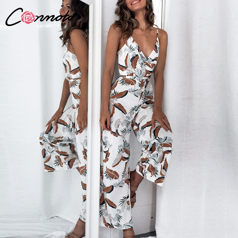 Conmoto 2019 Beach Bohemian   Jumpsuits   Women Spaghetti Strap Wide Leg Summer   Jumpsuit   Rompers Casual   Jumpsuit   Romper