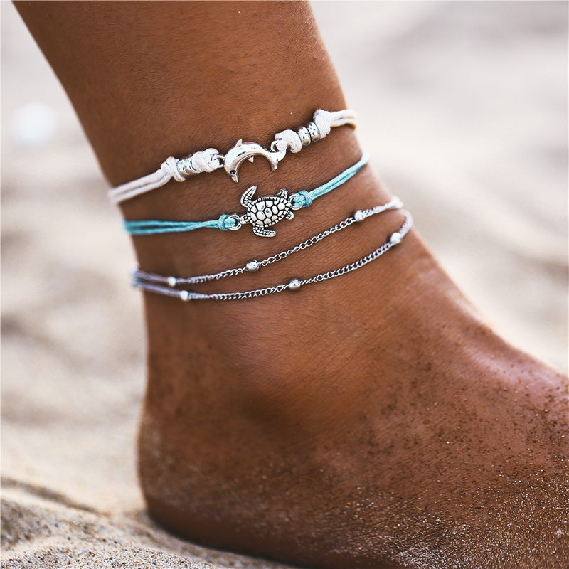 IF ME Bohemian Multilayers Anklets For Women Girl Vintage Silver Color Moon Sun Beach Pendant Ankle Bracelet on Leg Foot Jewelry 3