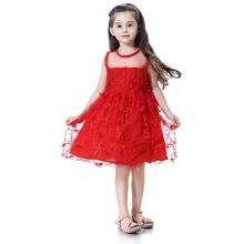 Toddler Girl Red Lace Dresses Kids Girls Wedding Party Dress Sleeveless Girls Clothes Elegant Princess Party Pageant Cute Dress