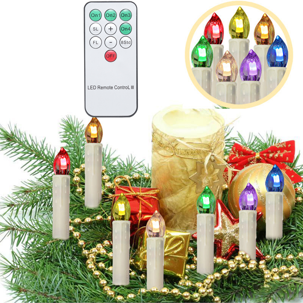 70pcs LED Candle Flameless 18x10cm Battery Powered LED Christmas Candle Multiple Color Lighting Home Decor Remote Control fancy purple led flameless candle