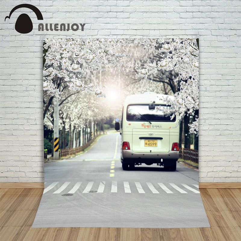 5ftx7ft Allenjoy background Photo Studio Photography road car Crosswalk trees flower married children Backdrop custom size green trees dig agricultural tools road ji special steel flower shovel custom specifications specials